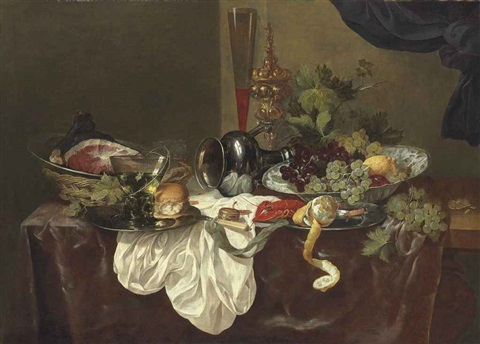 a roemer a langoustine and a ham on pewter plates with an upturned pewter jug on a partially draped table by abraham van beyeren