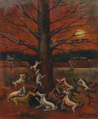 dogs in full moon by agus djaya