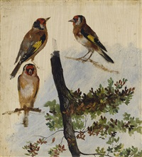 study of birds and tree * study of birds and sheep (2 works) by rosa bonheur