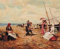 peintre et son modèle sur la plage by j. girardier