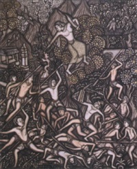 men fighting with kris and spears with a demon-like woman in a tree directing the activities by i ketut tombelos