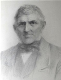 a portrait drawing of thomas selway, stone mason of ottery st. mary by jane fortescue seymour