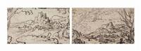 paysage montagneux (recto); croquis d'un drapeau avec croissants de lune (verso) by italian school-roman (17)