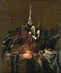 nature morte au coq et aux oiseaux by nicolaes van gelder