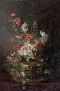 roses, chrysanthemums, tulips and other summer blooms, in a copper ewer by jules lejouteux