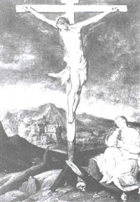 the crucified christ with the mary magdelen at the foot of the cross by jan snellinck the elder