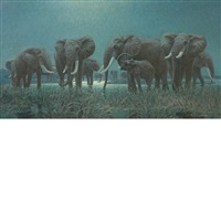 elephants at the watering hole by arthur radclyffe dugmore
