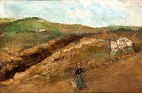 landscape with a woman and child by symeon sabbides