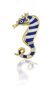 a gold, mother-of-pearl, and enamel 'seahorse' brooch by tiffany & company