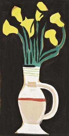 fleurs jaunes dans un vase by oscar domínguez