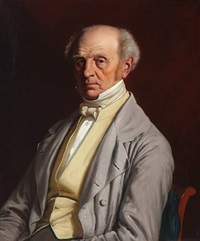 portrait of merchant hans puggaard (1788-1866) with a yellow waistcoat and a light brown jacket by jörgen roed