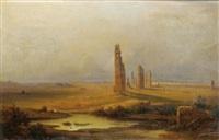 vue d'un aqueduc en ruines by johann-rudolph buhlmann