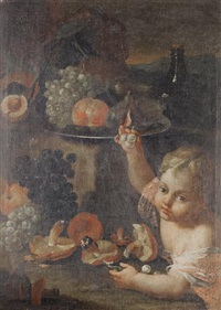 a young boy eating pumpkin, with glasses on a pewter tray on a stone ledge (+ a young boy picking grapes from a pewter tray on a stone ledge...; pair) by maximilian pfeiler
