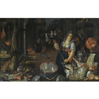 a kitchen still life with a maid and her admirer next to a table with dead hares, fowl, bread rolls, a basket with fruit, and copper pots and pans, on another table an earthenware plate with fish, cabbages and artichokes, the return of the prodigal son in by cornelis jacobsz. delff