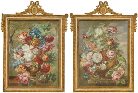 blomsterstilleben pair by jan frans van dael