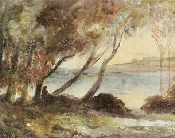 personnage au bord dun lac by kazimierz alchimowicz