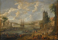 a river landscape with figures along the shore and in boats by mathys schoevaerdts