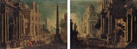elegant figures in an architectural landscape by alessandro salucci