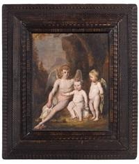 portrait de trois enfants sous les traits de cupidon et deux anges by thomas de keyser