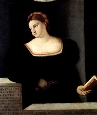 portrait of helena capella, half length, holding gloves   and a book, before a ledge. by bernardino licinio