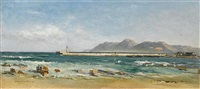 a breakwater, possibly hout bay by jean marius rogier
