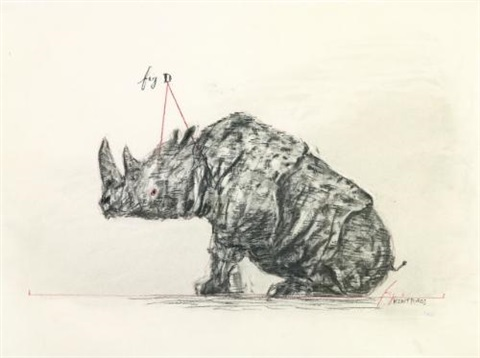 drawing for the magic flute taminos rhinoceros by william kentridge