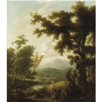 an extensive river landscape by george lambert