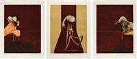 deuxième version du triptyque 1944 (second version of the triptych 1944) (set of 3) by francis bacon
