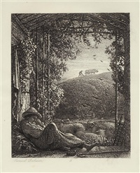 the sleeping sheppard - early morning by samuel palmer