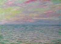 coucher de soleil à pourville, pleine mer by claude monet