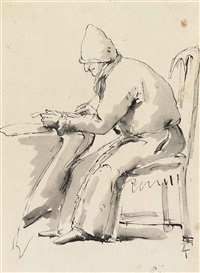 caricature of a scribe seated at a desk by giovanni battista tiepolo