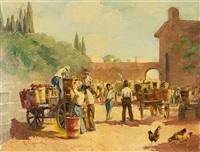 street market scene by vasilis germenis