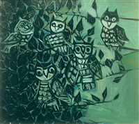 owls on a peepul tree by paritosh sen