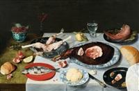 nature morte au déjeuner gras et coupe de framboise by jacob van hulsdonck