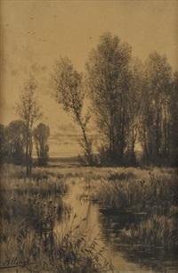 paysage à la rivière et aux arbres by auguste allongé