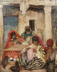 femmes berbères brodant by fernand allard l'olivier