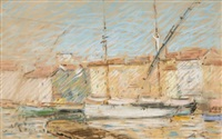 tartanes dans le port de saint-tropez by auguste pegurier