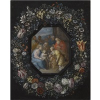 the madonna and child with saint john, saint anne and other saints within an ornamental cartouche decorated with a flower garland (attributed to frans francken the younger) by philippe de marlier
