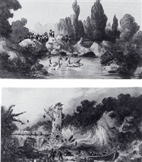 elegant figures in a landscape with a lake with swans by giovanni migliari