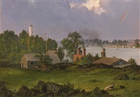 youle's shot tower, east river, new york (view of hartford) by frederic edwin church
