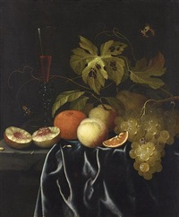 a still life of peaches, an orange, grapes and a venetian glass of red wine on a ledge with a butterfly, a wasp and a caterpillar by johannes borman