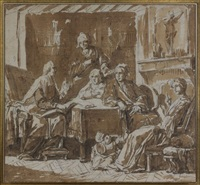 famille et leur prêtre dans un intérieur bourgeois by johann eleazar schenau