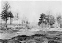 lac à l'orée de la forêt by eugène labitte
