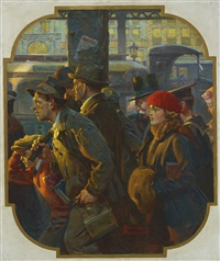 end of the working day (commuter rush) by norman rockwell