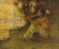 the flute player (indian playing flute) by eanger irving couse