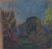 landscape with bacchanal scene by erich klossowski
