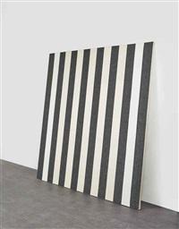 peinture acrylique blanche sur tissu rayé blanc et noir by daniel buren
