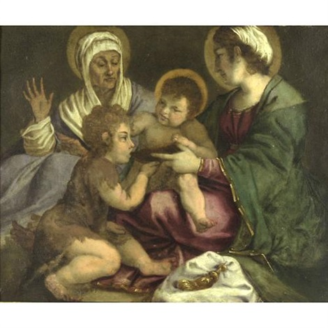 the holy family with st john the baptist and st anne by andrea boscoli