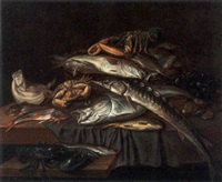 a still life with a sturgeon, a red gurnard, a ray, a brill, a crab, lobsters, oysters, mussels and other fish by isaac van duynen