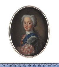 henry benedict stuart as a young boy, wearing grey coat with pink lining and large embroidered cuffs, blue sash and breast star of the order of the thistle by antonio david